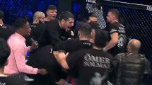 Chaos a diváci v klietke po titulovom zápase na nemeckom turnaji MMA v Hamburgu